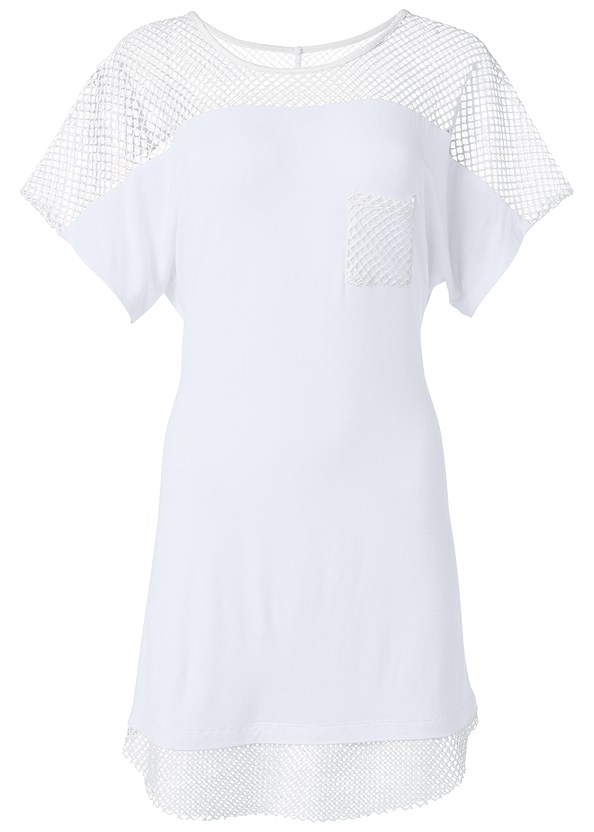 Mesh Trimmed Cover-Up Dress