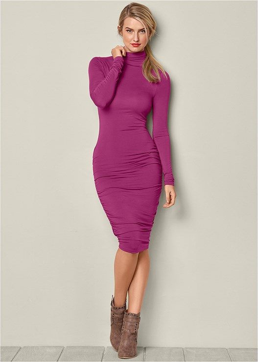 LONG SLEEVE RUCHED DRESS,WRAP STITCH DETAIL BOOTIE,CONFIDENCE TUMMY SHAPER