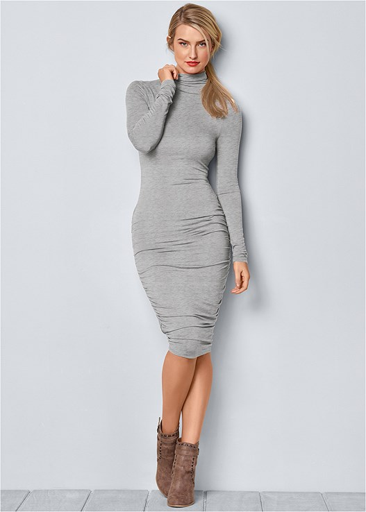 LONG SLEEVE RUCHED DRESS,WRAP STITCH DETAIL BOOTIES
