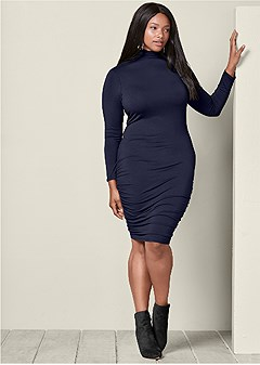 plus size long sleeve ruched dress