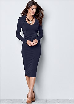 dress with faux shrug