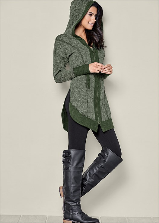 TUNIC LENGTH ZIP UP HOODIE,BASIC LEGGINGS