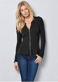 zipper front peplum sweater