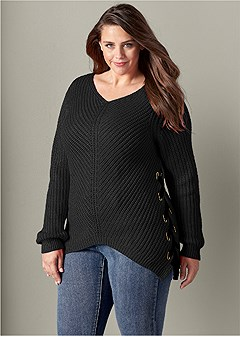 plus size lace up sweater
