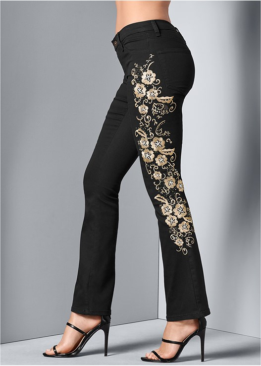 EMBROIDERED BOOT CUT JEANS,TIE FRONT BUTTON UP TOP,POINTY TOE CHUNKY HEEL PUMP