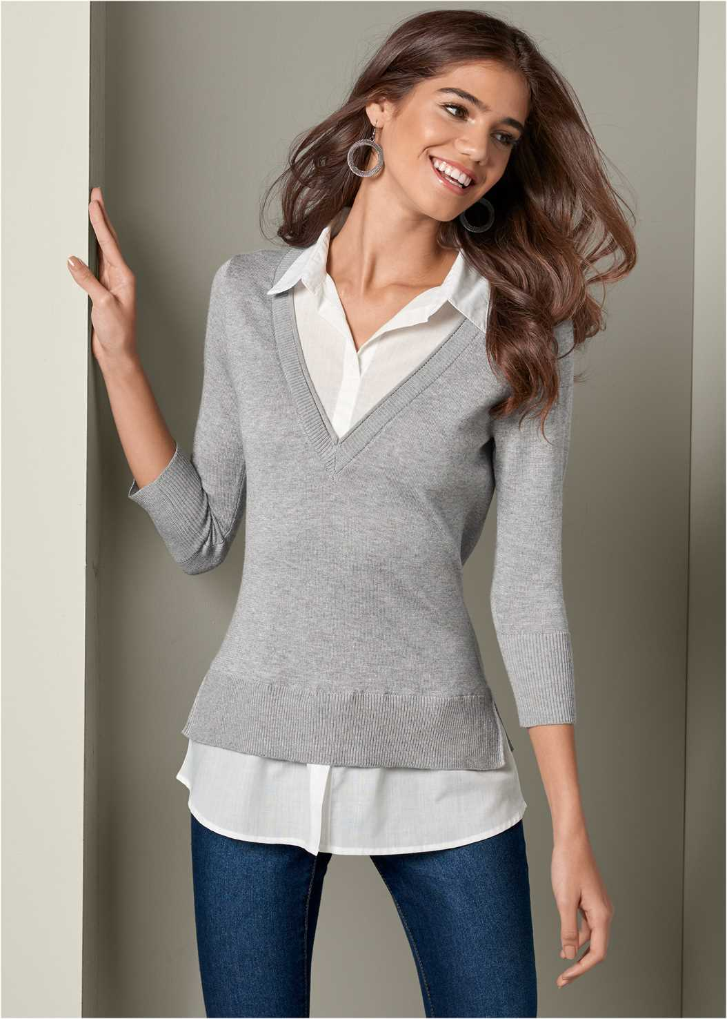 Twofer Sweater,Mid Rise Color Skinny Jeans
