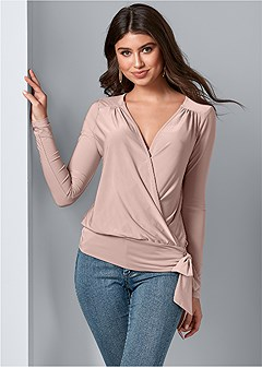 surplice side tie top