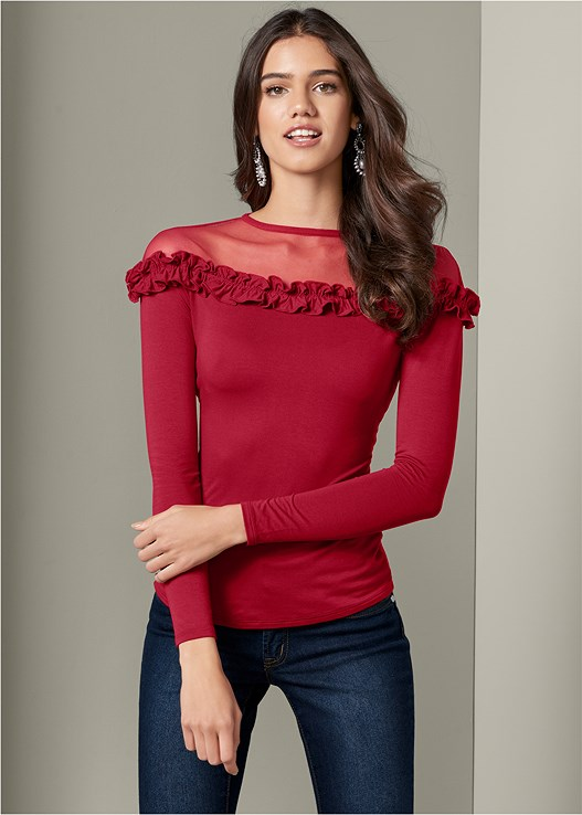 ILLUSION RUFFLE NECK TOP