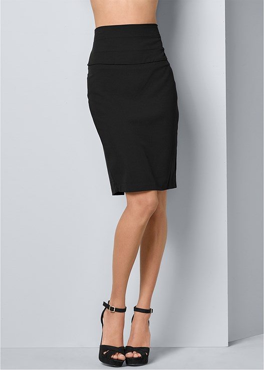 SLIMMING PENCIL MIDI SKIRT,EMBELLISHED POCKET BLOUSE