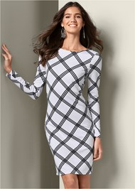 Front View Geometric Printed Dress