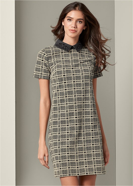 PLAID COLLAR DRESS