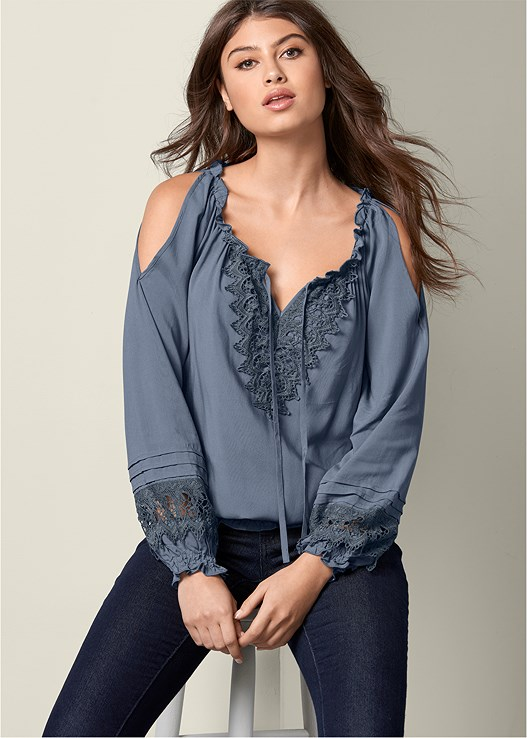 COLD SHOULDER TOP,COLOR SKINNY JEANS,PEEP TOE LACE UP BOOTIE