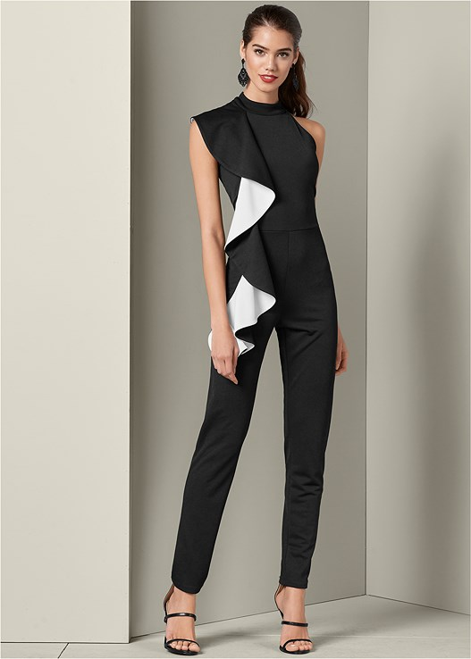 RUFFLE DETAIL JUMPSUIT,HIGH HEEL STRAPPY SANDALS