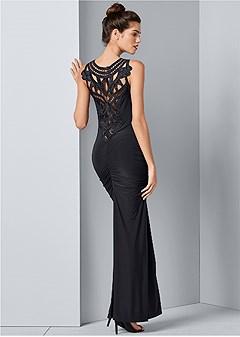 lace back detail long dress