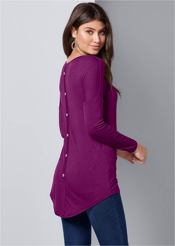 Button Back Scoop Neck Top,Mid Rise Color Skinny Jeans,Wrap Stitch Detail Booties