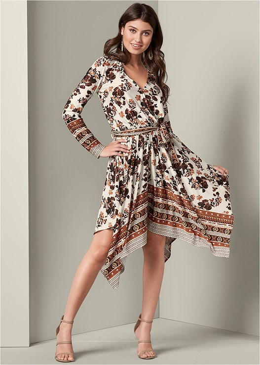 HANDKERCHIEF HEM DRESS,HIGH HEEL STRAPPY SANDALS