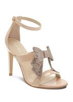 embellished bow heel