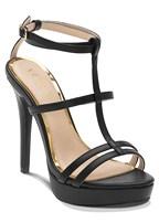 metallic t strap heel