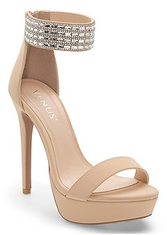 glitter ankle strap heel