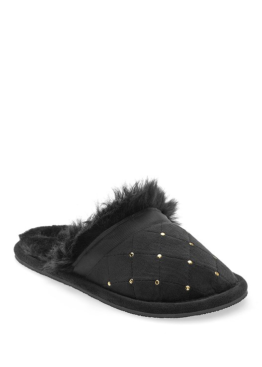 QUILTED FAUX FUR SLIPPER