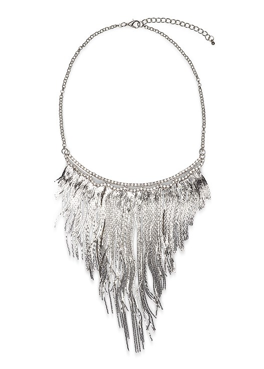 METAL FRINGE NECKLACE,TRUMPET SLEEVE SWEATER