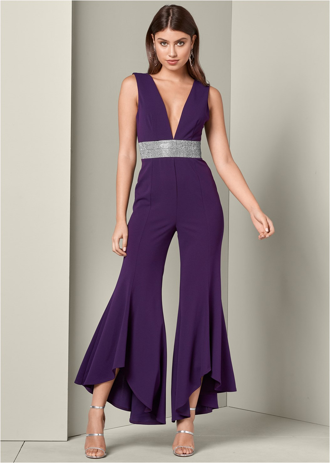 Deep V Jumpsuit,High Heel Strappy Sandals