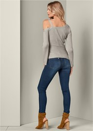Back View Grommet Detail Sweater