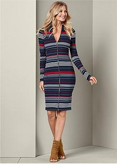 striped zip front dress
