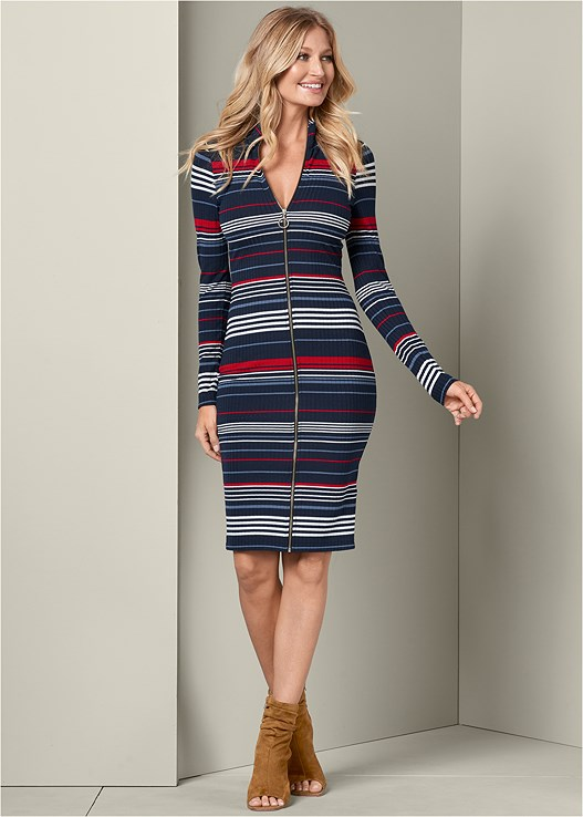STRIPED ZIP FRONT DRESS,OPEN HEEL BOOTIE
