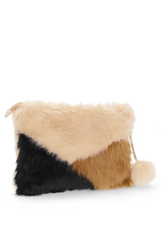 FAUX FUR CLUTCH,FAUX SUEDE STUDDED JACKET