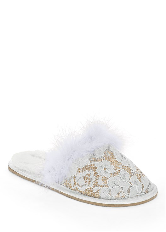 LACE FAUX FEATHER SLIPPER