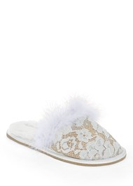 Front View Lace Faux Feather Slipper