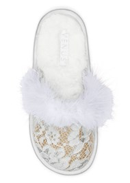 Alternate View Lace Faux Feather Slipper