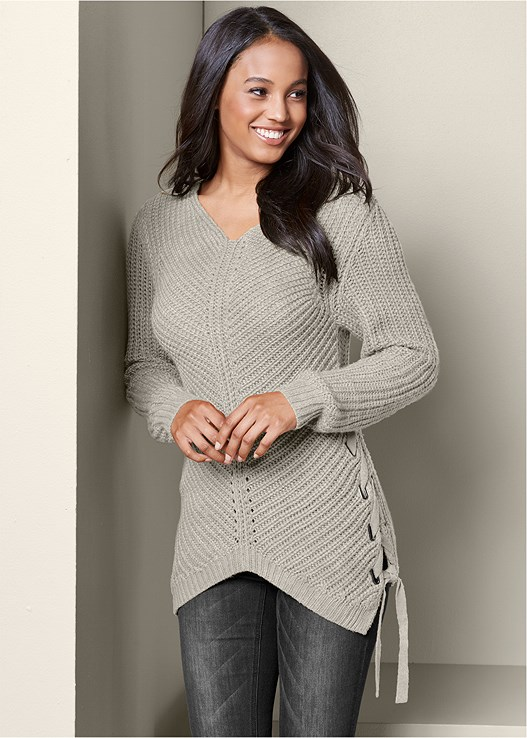 LACE UP SWEATER,WRAP STITCH DETAIL BOOTIE