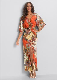 Front View Boho Print Maxi Dress