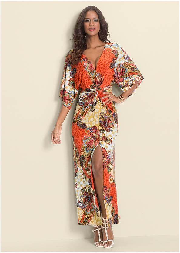 Boho Print Maxi Dress,Paisley Print Maxi Dress,Pearl By Venus® Strappy Plunge Bra,High Heel Strappy Sandals