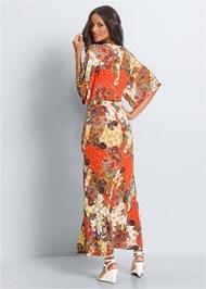 Back View Boho Print Maxi Dress