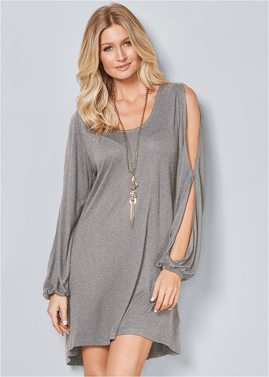 SLEEVE DETAIL DRESS,SMOOTH PLUNGE T-SHIRT BRA,EVERYDAY YOU LACE CAMI BRA,STEVE MADDEN CARINA,KNOT FRONT WEDGES,CRISS CROSS HOOP EARRINGS,FRINGE STATMENT NECKLACE