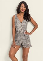 plus size python printed romper