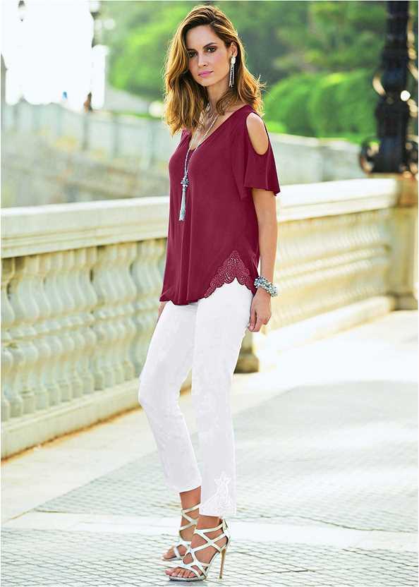 Cold Shoulder Top,Mid Rise Color Skinny Jeans,High Heel Strappy Sandals