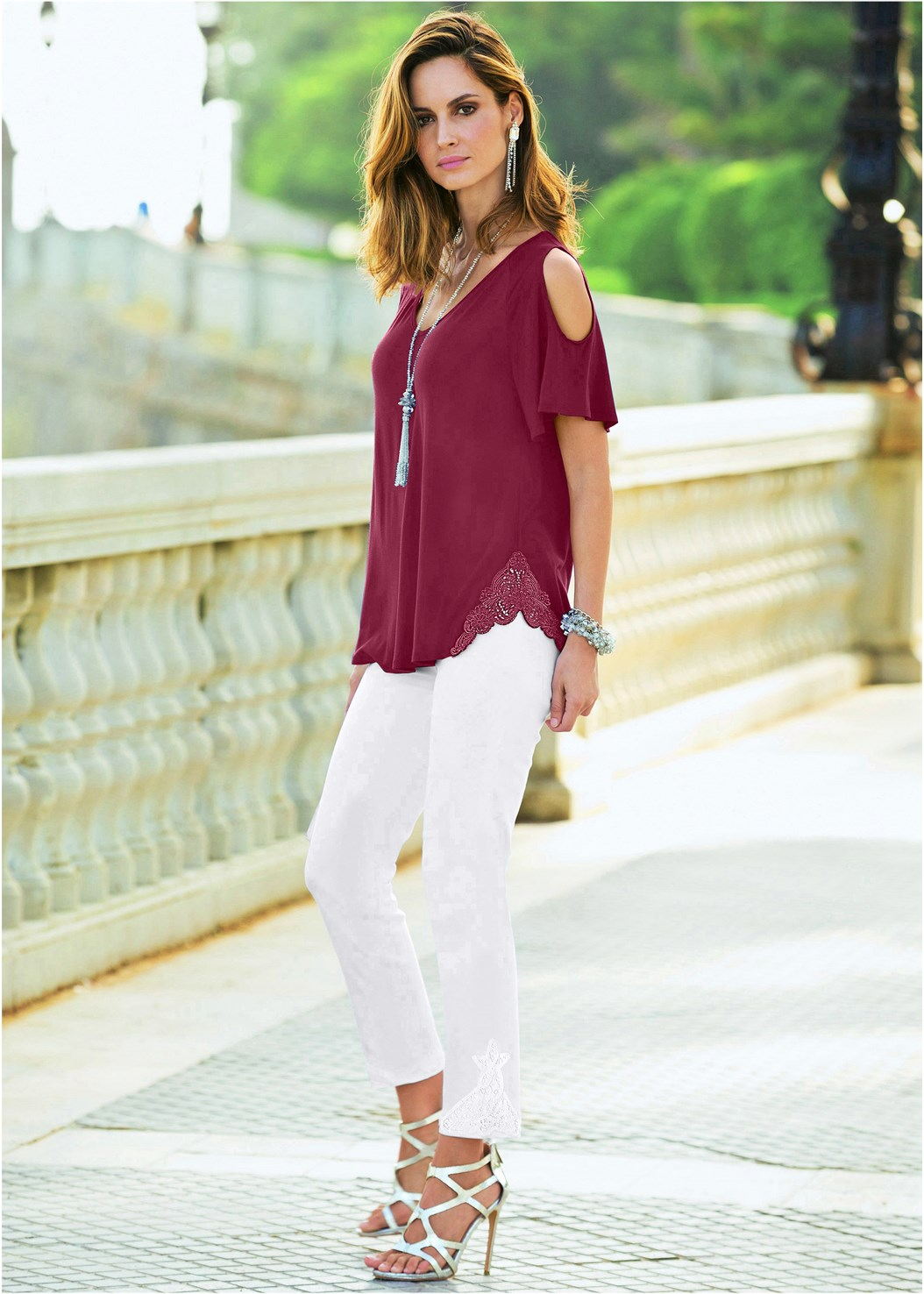 Cold Shoulder Top,Mid Rise Color Skinny Jeans,High Heel Strappy Sandals
