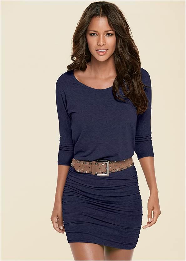 Ruched Detail Dress,Perforated Ring Heels,Stretch Waist Belt,Tassel Hoop Earrings,Circle Detail Handbag