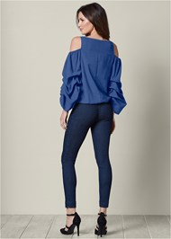 Back view Cold Shoulder Surplice Top