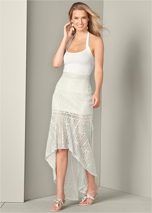 LACE HIGH LOW SKIRT,MULTI COLOR STONE SANDALS