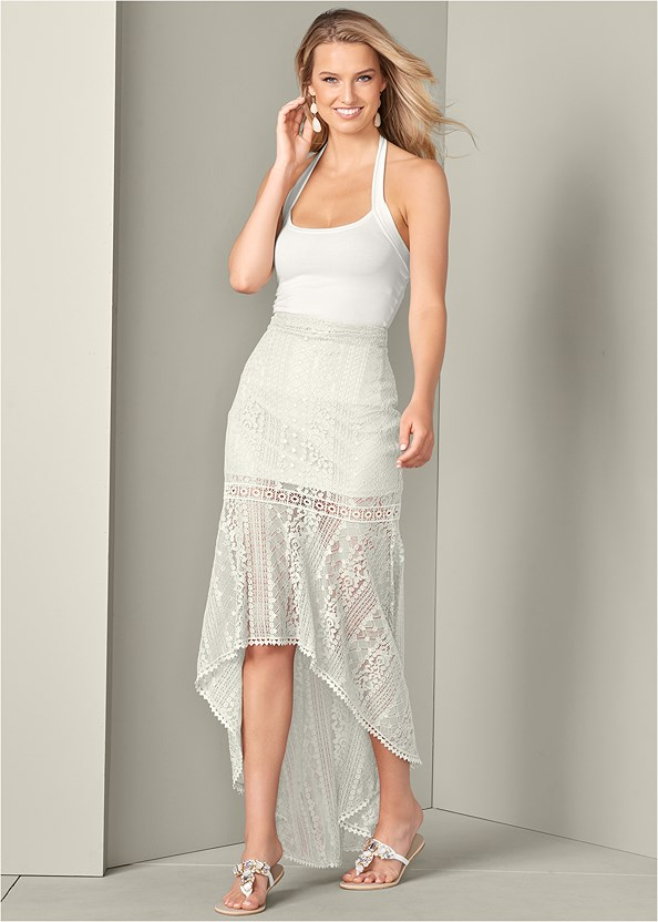 Lace High Low Skirt,Easy Halter Top