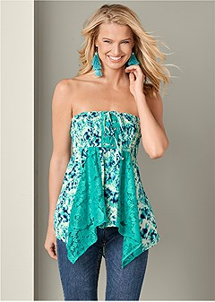 lace inset smocked top