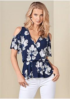 fc4941e25ac26 cold shoulder print top