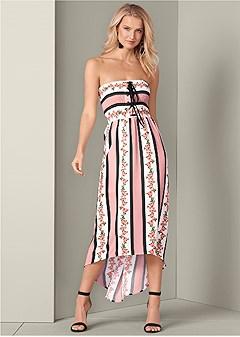 smocked printed dress