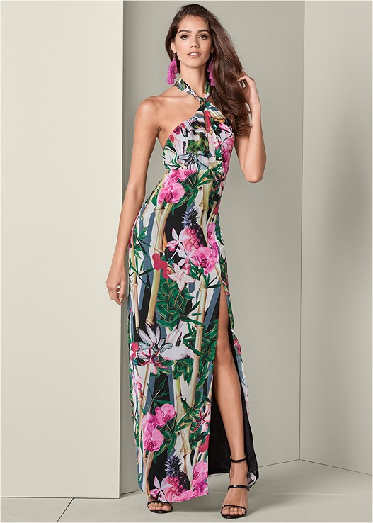 top-rated quality get new modern design TROPICAL PRINT MAXI DRESS