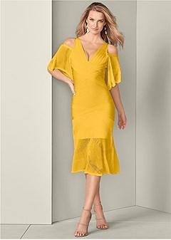 slimming lace detail dress